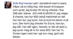 Eirik Rud Iversen ut av poker-NM på brutalt vis