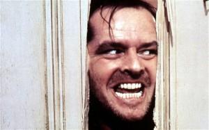 Jack Nicholson som Johnny i den kjente scenen fra The Shining/Ondskapens hotell.
