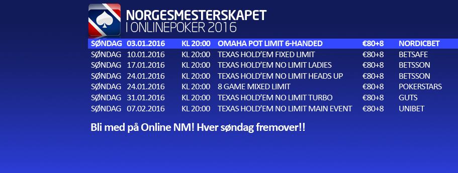Dette er programmet for årets online-NM i poker.